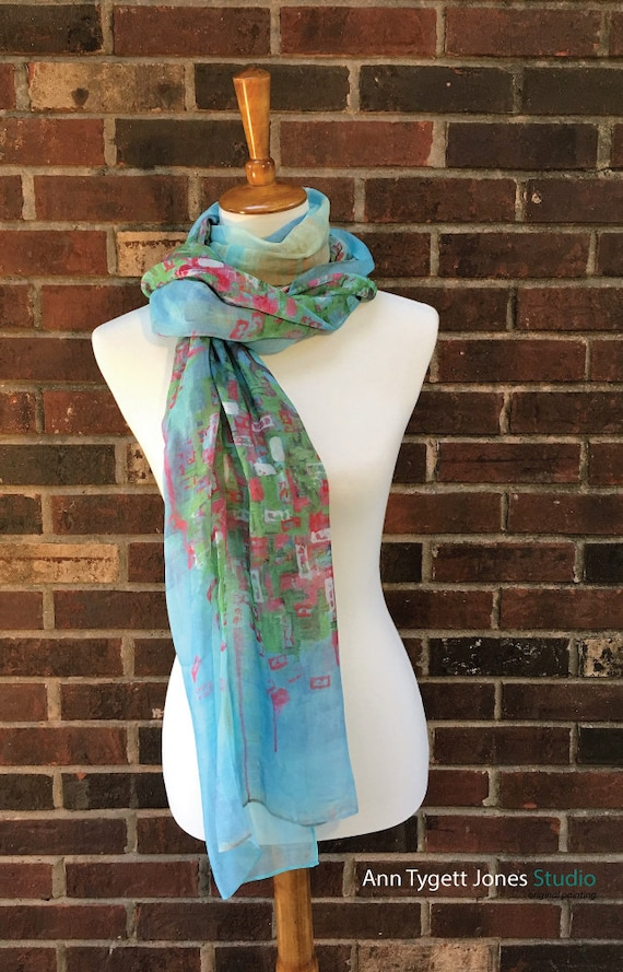 Cherry Blossom Art Scarf, unique wrap, spring cherry blossom tree painted scarf, art scarf, gifts for her, modal silk cherry blossom art