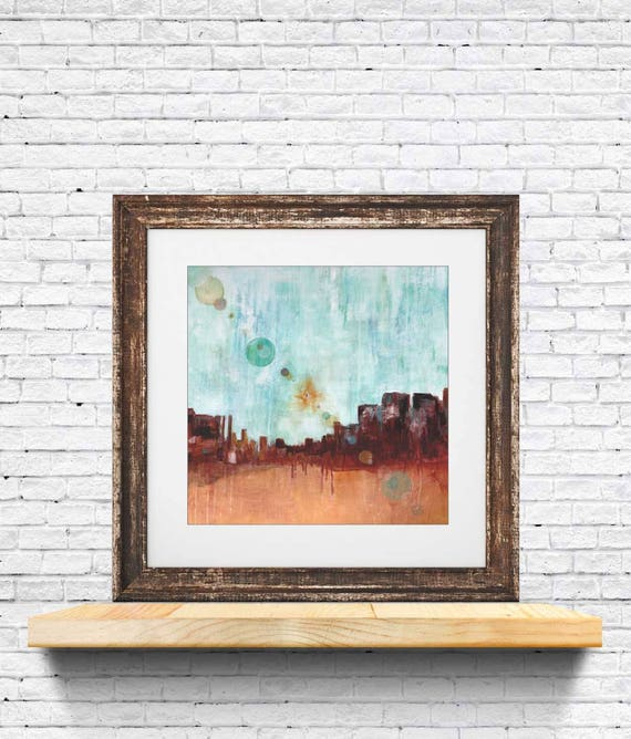 Giclee art print of desert, abstract hot desert sun, lens flare art, desert sun, interior decor, wall art, sun spot painting, desert print
