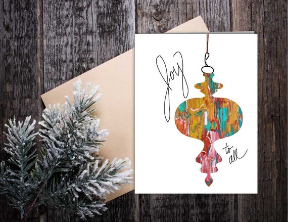 Joy Holiday card, Christmas greeting card, ornament holiday card, handmade greeting, hand lettering greeting card for Christmas