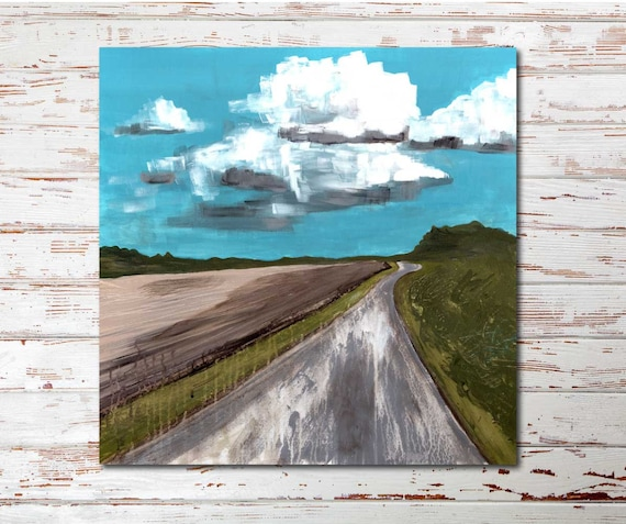 Afternoon Walk abstract landscape painting, interior design, commercial artwork, modern landscape, boho painting, contemporary decor, sky