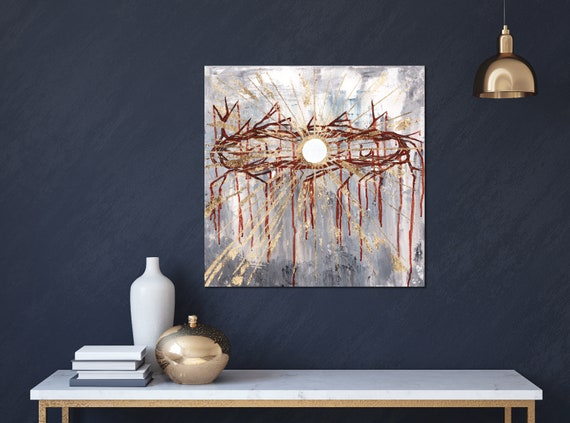 Holy Crown, Crown of Thorns painting, Catholic Art, Jesus, Religious Art, Eucharist, Eucharist art, gold leaf, modern mid century art, star