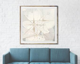 White Star retro painting, mid century modern art, night sky, retro art, celestial wall art, interior staging, gold leaf, interior styling