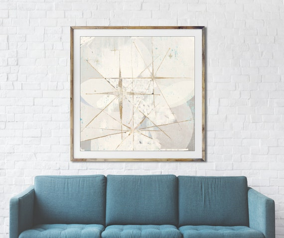 White Star retro painting, mid century modern art, night sky, retro art, celestial wall art, interior staging, gold leaf, interior styling