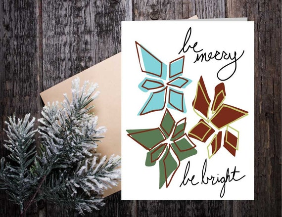 Be Merry Be Bright Holiday Christmas Card, teal seasonal greeting, hand made holiday card, poinsettia Christmas greeting card