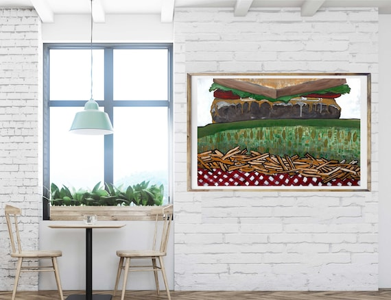 Fun food art print, cheeseburger, pickle, fries, restaurant wall art, food artwork, commercial art print, lobby art, kitchen art, hamburger