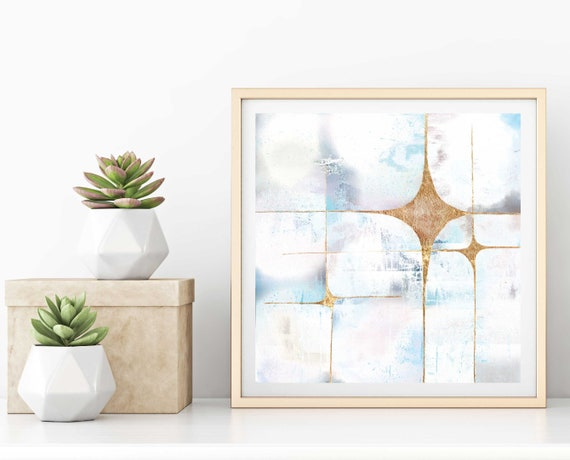 Galaxy 3 white,  abstract art print, mid century modern art, modern mid century art, stars, starburst, gold leaf, celestial, space, retro