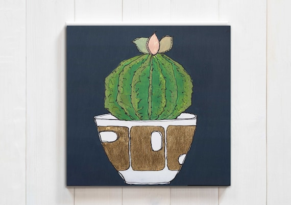 cactus decor, cactus art, cactus painting, succulent art, interior design, modern mid century, plant decor, gold leaf, original wall art