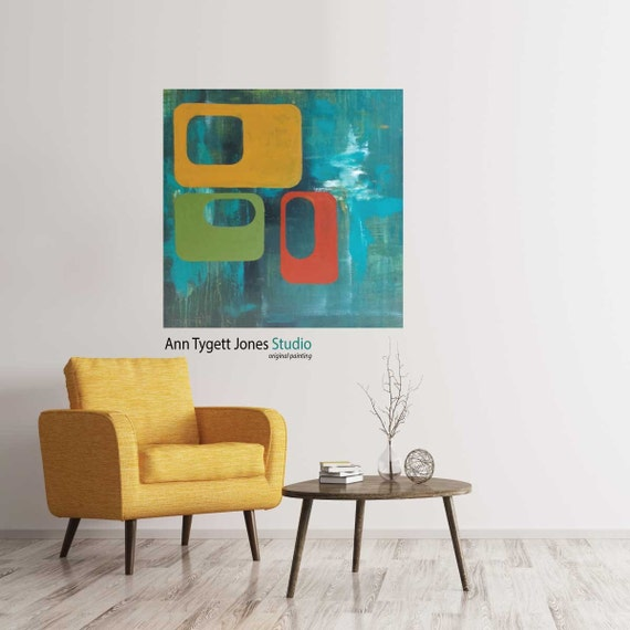 Mid Century modern art, Abstract Painting, modern abstract painting, original handmade modern abstract painting, contemporary wall art, art