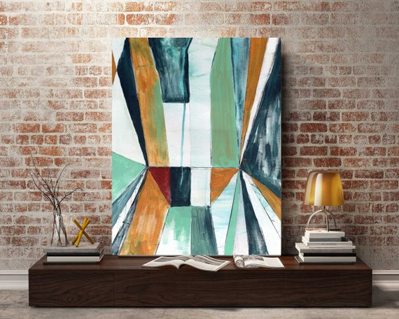 Original abstract painting, linear block abstract art, interior decor, mid century modern art, modern interior design, interior wall art