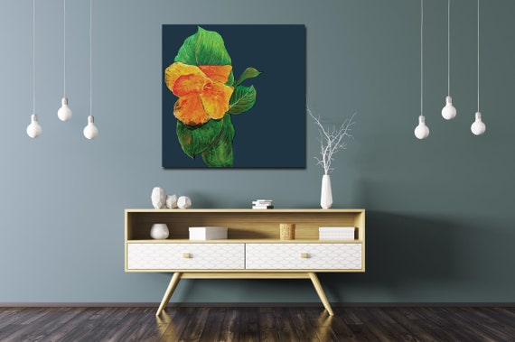 Tropical plant art, botanical art, original tropical plant painting, gold leaf, canna art, mid century modern art, lobby art, leaf painting