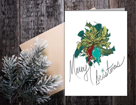 Merry Christmas Retro Classic Card, vintage style Christmas Holiday card, hand lettering seasonal card, Christmas tree ornament card