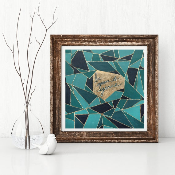 Geometric art, original abstract print, inspirational quote, religious quote, grace, gold art, geo, teal abstract print modern religious art