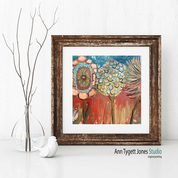 Art Print of original abstract floral painting, modern interior floral wall art, contemporary interior design, handmade floral, 3 FLOWERS