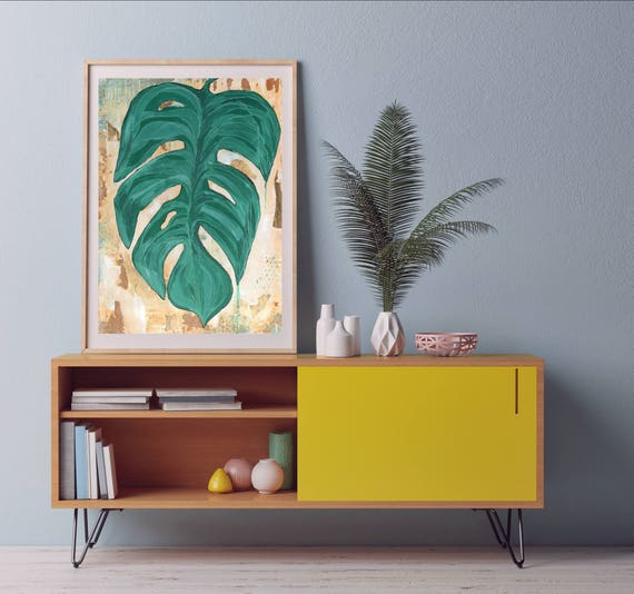 Gold Leaf, giclee print of original painting, tropical art print, palm leaf art, gold foil art, modern interior design, lush artwork