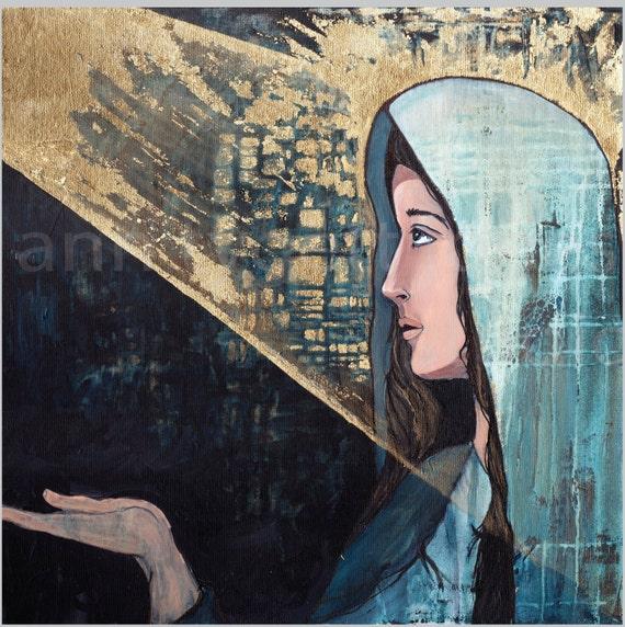 Mother Mary art print, the annunciation, modern religious art, catholic art, gold leaf, mid century modern inspired art, Angel Gabriel, Mary