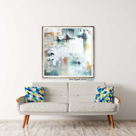 Art Print of abstract painting, beautiful blue abstract wall art, abstract wall art, modern interior, mid century abstract, contemporary art