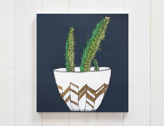 cactus decor, cactus art, cactus painting, succulent art, interior design, commercial art, plant decor, gold leaf, original wall art decor