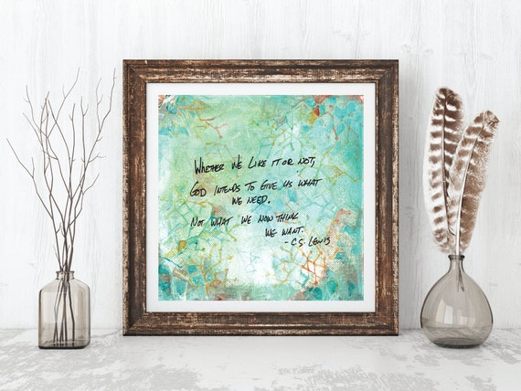 Inspirational wall art, print, modern abstract, religious art, positive quote, mid century modern art, C S Lewis quote, inspirational quote