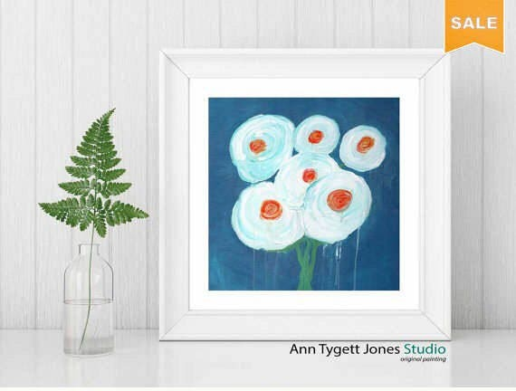 Flower painting, abstract floral, modern interior wall art, interior wall art, flower painting, flowers, white flowers, floal art, floral
