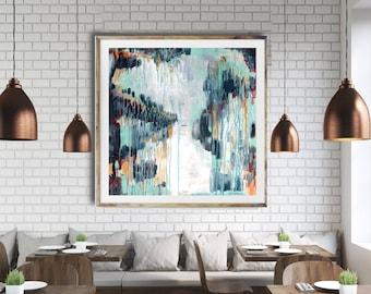Modern abstract art print, commercial abstract art, blue abstract, modern painting, interior art, mid century modern, restaurant art, modern