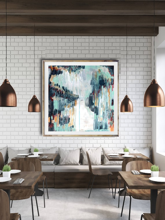 Modern abstract art print, commercial abstract art, blue abstract, modern painting, interior art, contemporary art, restaurant art, modern