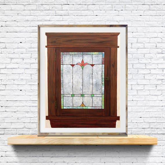 Stained Glass Window painting, window art, art print, commercial art, art for restaurant, office art, hotel art, lobby art, retro window art