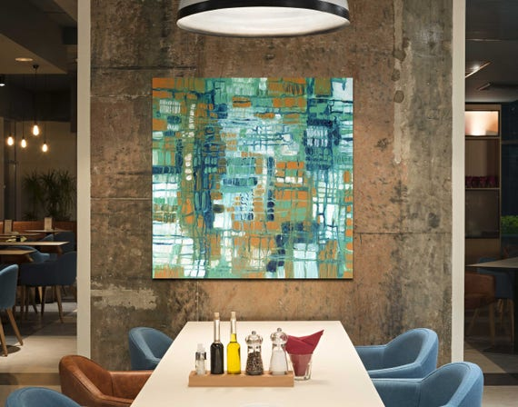 Mid Century Modern art, modern art, retro modern abstract painting, restaurant art, commercial art, blue abstract, interior staging,