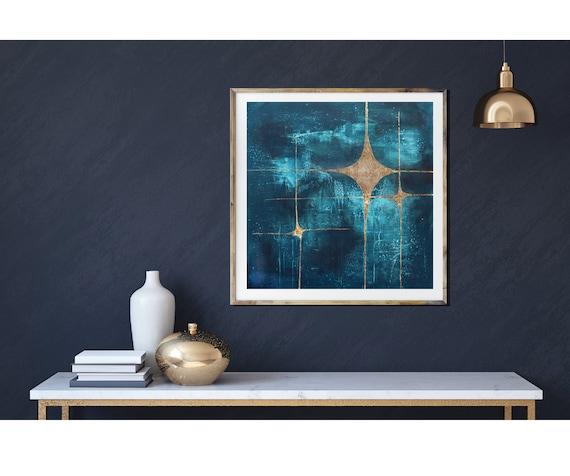 Galaxy 3, giclee art print, mid century modern art, modern mid century art, stars, starburst, gold leaf, celestial art, space art, retro art
