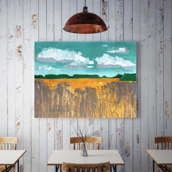 Large Abstract landscape, autumn wheat field painting, original painting of wheat field, commercial art, large painting, fall wall art, fall