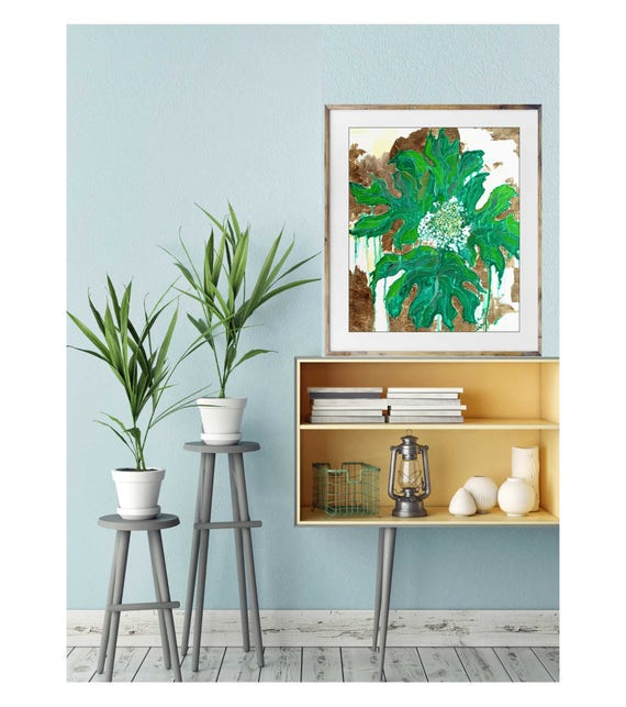 Tropical decor, Oak Hydrangea, floral art, tropical art, gold art print, green leaf art print, original leaf painting, modern interior art