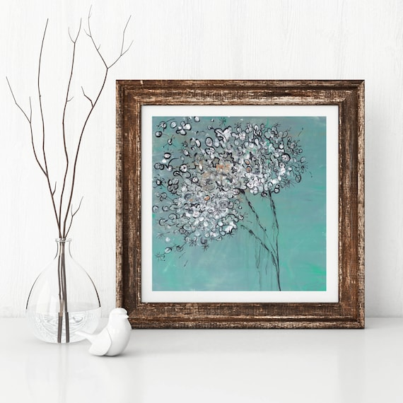 Dandelion Flower Giclee Art Print, original acrylic abstract floral painting, modern interior decor, floral art print, contemporary floral