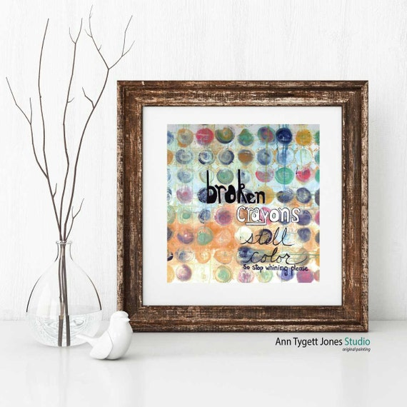Art print of abstract circles, acrylic painting of crayons, pastel color scheme, art print quotes painting, art for kids, kids room wall art