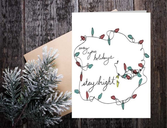 Stay Bright Holiday Christmas Card, Twinkle lights greeting card, unique seasonal lights card, hand lettered Christmas seasonal card
