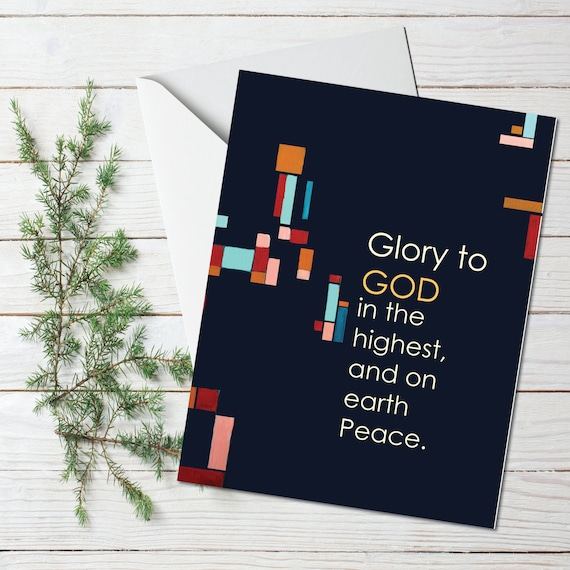 Christmas card, religious greeting card, mid century modern holiday greeting card, gold leaf, GLORY TO GOD, stationary, modern holiday card