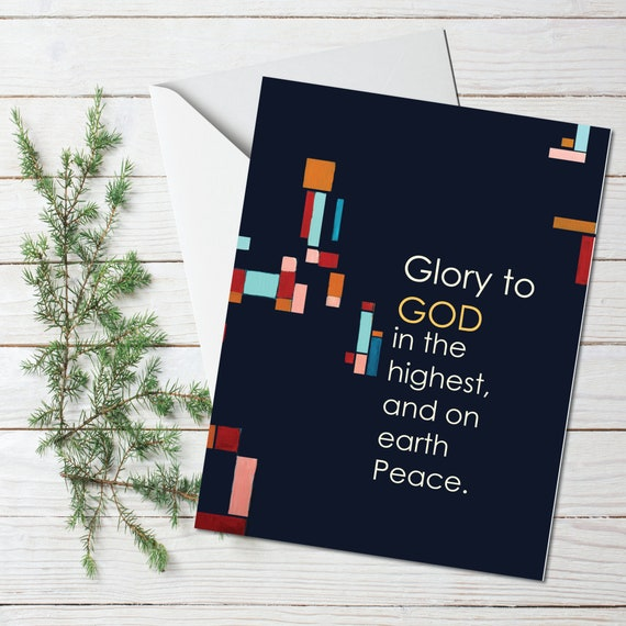 Religious Christmas card, greeting card, mid century modern holiday greeting card, gold leaf, GLORY TO GOD, stationary, modern holiday card