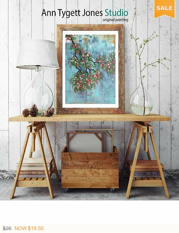 Cherry tree art, cherry tree print, original abstract cherry tree art, modern decor, cherry tree blossoms, cherry tree art, spring art