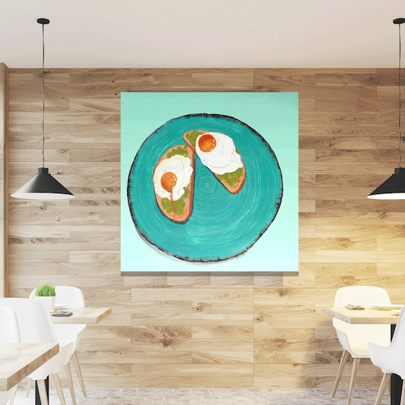 Avocado Toast painting, food art, restaurant art, commercial art, avocado, interior styling, contemporary art, egg art, modern painting, art