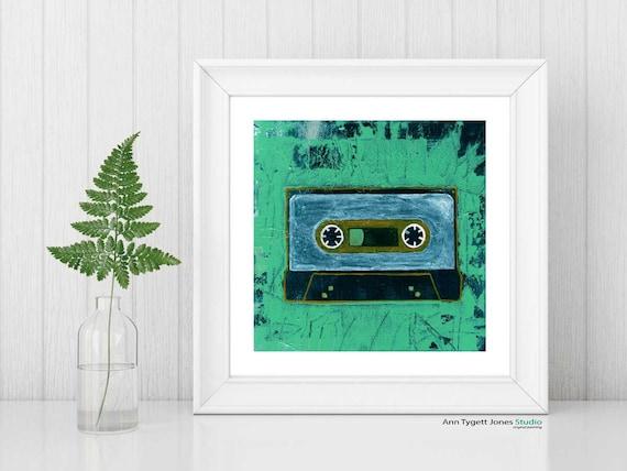 cassette art, CASSETTE TAPE, abstract tape, modern interior wall art, music art, abstract wall art, retro music art print, hipster art print