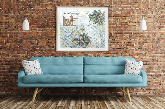 Abstract LOVE art print, inspirational art quote, religious art quote, abstract art, geometric floral art, word art, modern wall art, love