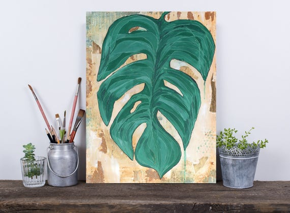 Tropical Decor, Gold Leaf painting Original botanical acrylic painting, lush green foliage art, tropical palm leaf art, leaf painting
