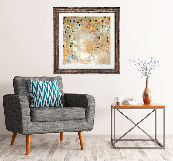 Geometric Art Print, original abstract painting, yellow dot painting, commercial art, mid century modern art, contemporary art print