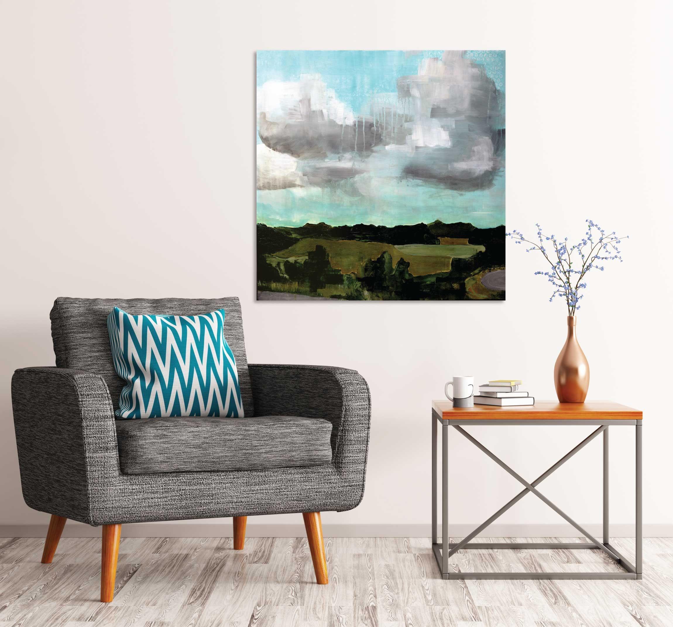 Picture of: Summer Fields Original Painting Mid Century Modern Art Modern Landscape Landscape Painting Interior Design Interior Staging Cloud Art