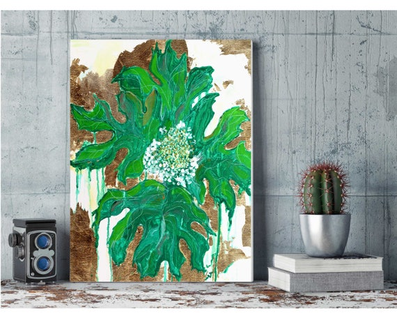 tropical decor, hydrangea painting, gold foil floral art, flower painting, floral painting, interior decor, gold leaf painting, botanical