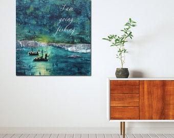 Fishing, John 21, gift for fisherman, Catholic Art, Peter Simon, bible art, inspirational artwork, Catholic art print, Bible quote art work