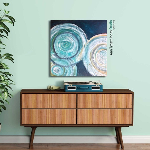 Original Acrylic Abstract Painting, water rings, water ripples, water painting, blue water painting, abstract, mid century modern art, water