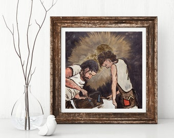 St. Joseph and Jesus, St. Joseph, Jesus, Christian art, Catholic art, Jesus as a child, Father and Son, inspirational art, carpenter, family