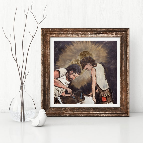 St. Joseph and Jesus, St. Joseph, Jesus, Christian art, Catholic art, Jesus as a child, Father and Son, inspirational art, carpenter, family