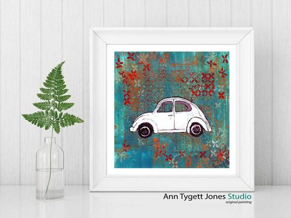 car art, Volkswagon bug retro print, VW beetle artwork for kid's bedroom, funky car artwork, original VW beetle art, art print,