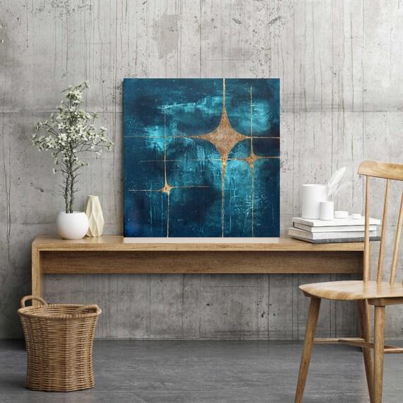 Galaxy 3, abstract painting, mid century modern art, modern mid century art, stars, starburst, gold leaf, celestial, space art, retro art