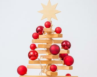 Wooden Christmas tree (100 cm) incl. red Christmas balls & fairy lights